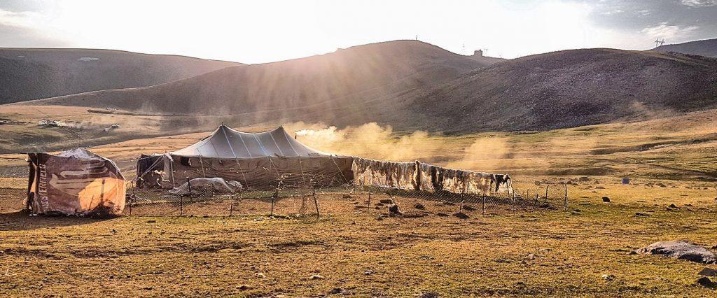 Secando pieles en un campamento nómada.