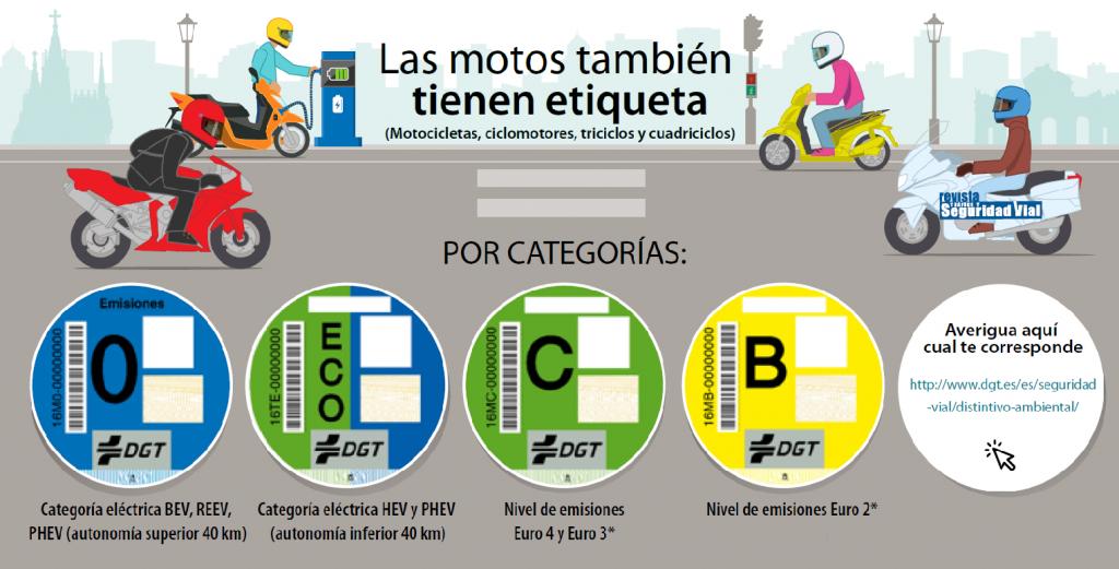 Distintivo ambiental DGT para motos y ciclomotores.