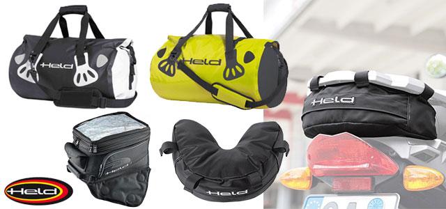 Bolsas Held para moto: sobredepósito, rulos impermeables, bolsa de herramientas.