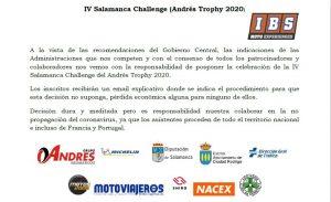 IV Salamanca Challenge (Andrés Tropy 2020) - Aplazada la prueba de Ciudad Rodrigo.