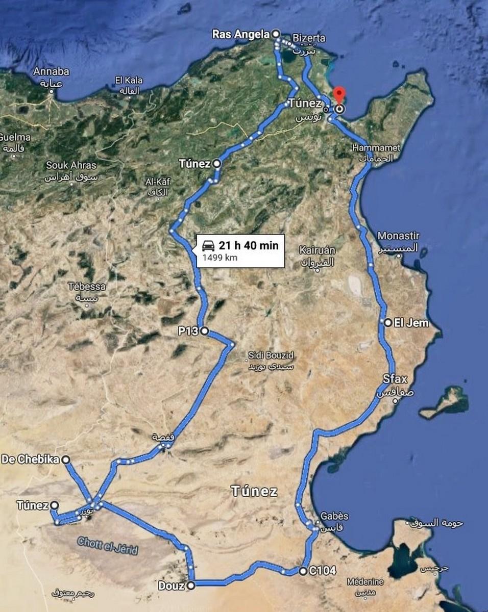 Ruta google Túnez en moto: Operación Ras Angela.