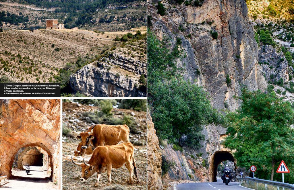 Pitarque y los túneles excavados en la roca próximos al Hostal La Trucha.