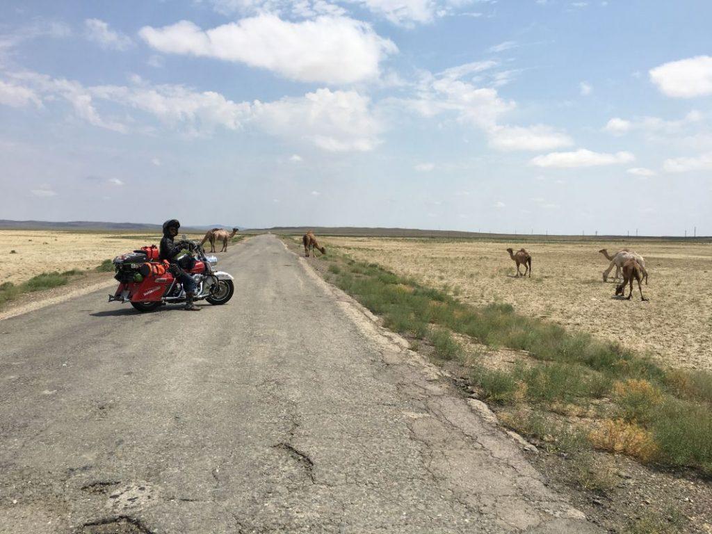 Carretera concurrida en Kazajistán