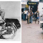 Sola en moto (Elspeth Beard) y Caravana de uno (R. Fulton Jr.)